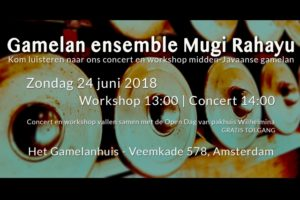 24 Juni 2018 ~ Mugi Rahayu workshop & concert